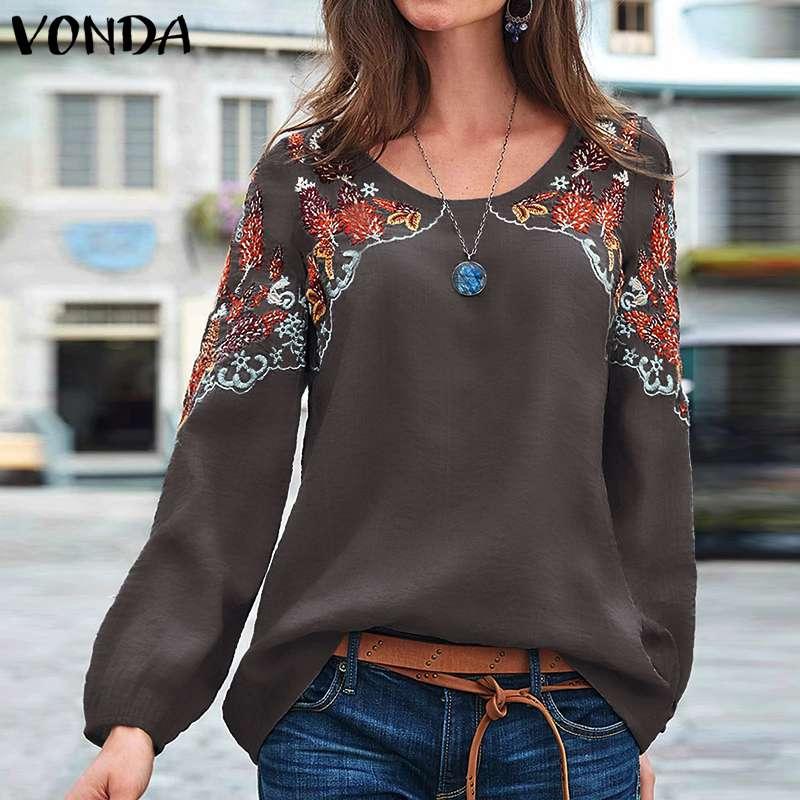 VONDA, S-5XL, Осенние блузки, для женщин, с круглым вырезом, с длинным рукавом-фонариком, вечерние, винтажные, с принтом, весенние топы, негабаритны...
