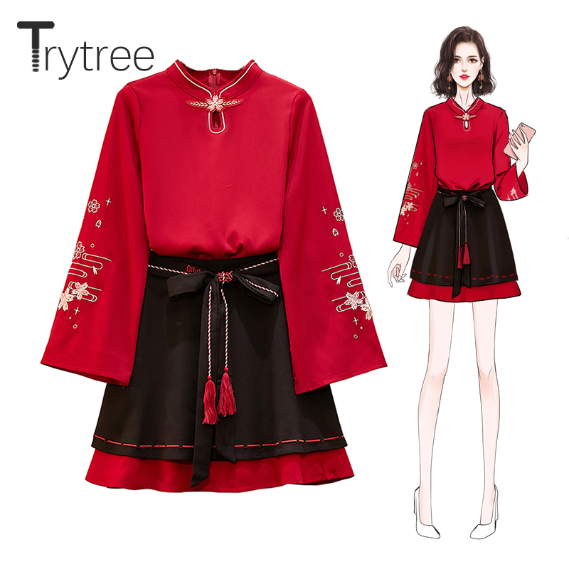 Trytree Autumn Women Two Piece Set Casual V-neck Flare Sleeve Embroidery Tops + Skirt Belt Mini Lady Chinese Style 2 Piece Set