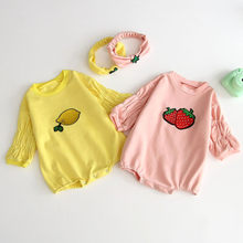 Infant Newborn Baby Girls Bodysuit Strawberry Fruit Print Ruched Long Sleeve Bodysuit Hairband Outfits Toddler Baby Onesie(China)