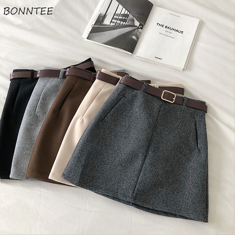 Mini Skirts Women Solid Woolen Autumn Winter Korean Style Elegant Females Chic All-match Fashion Casual Harajuku Womens Skirt