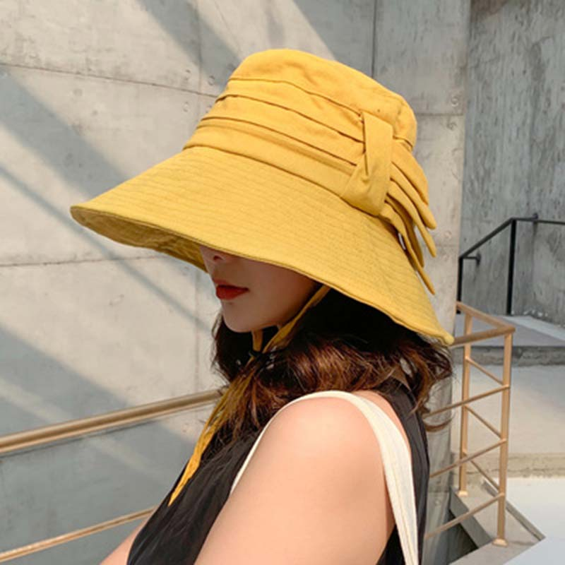 2019 hot Fold the fisherman caps female travel is prevented bask in sun hat big canopy cover face caps in Women 39 s Bucket Hats from Apparel Accessories