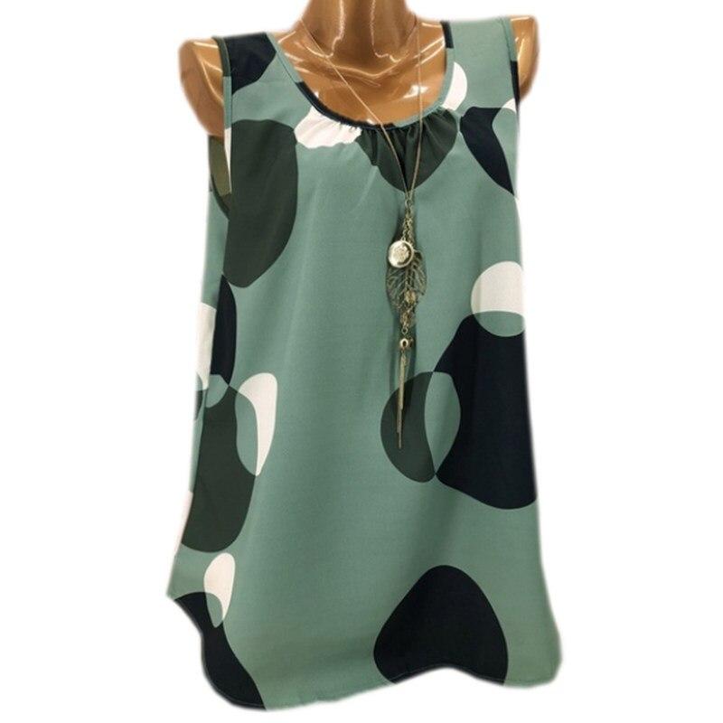 Fashion Loose Large Size T-shirt Polka Dot Sleeveless Vest Ladies Shirt Casual T-shirt Women