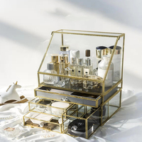 Nordic ins net red cosmetics storage box glass storage rack skin care dressing table shelf table top dust proof