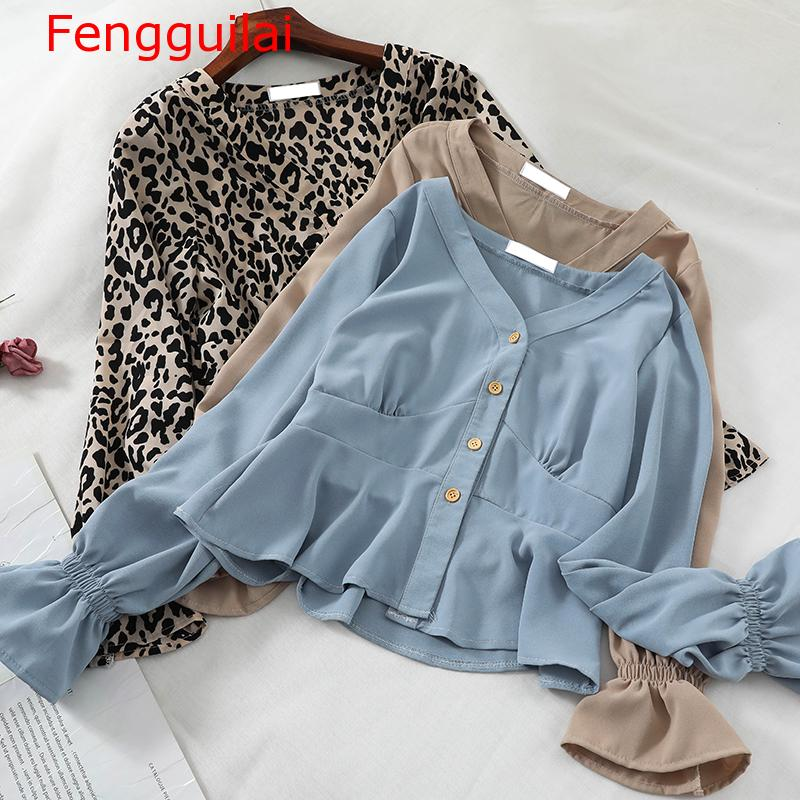 Fengguilai Women Flare Sleeve V-neck Leopard Basic   Shirt   New Casual Short Slim High Waist Cardigan Button Chiffon   Blouse   Tops