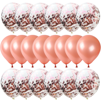 20pcs/lot 12inch Mix Rose Latex Balloons And Colored Confetti ballon Birthday deco Party Wedding Anniversary Helium Ballon image