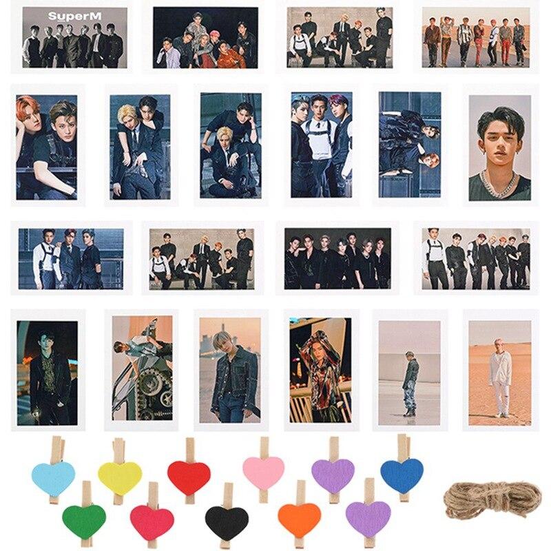 Kpop SuperM 1st Mini Album  Lomo Card MARK TAEYONG BAEKHYUN LUCAS TEN KAI TAEMIN Photo Cards Clips Hemp Rope Fans Gifts