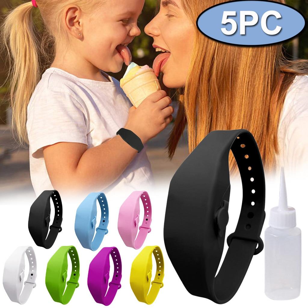 5pcs/lot Portable Outdoor Silicone Wristband child Hand Dispenser Wearable kids Held Sanatizer Soap Bracelet Desinfectant 1
