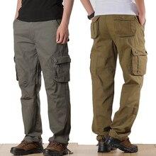 الرجال السراويل البضائع رجالي عادية متعددة جيوب العسكرية حجم كبير 44 السراويل التكتيكية الرجال أبلى القطن مستقيم فضفاض طويل بنطلون
