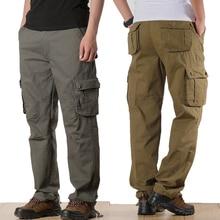 Pantalones Cargo militares para hombre, pantalón táctico informal con varios bolsillos, de talla grande 44, prendas de vestir para hombre, pantalones largos rectos holgados de algodón