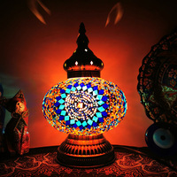 LED desk lamp retro romantic small night lamp Morocco hotel bedroom qing Turkish handmade glass small desk lamp