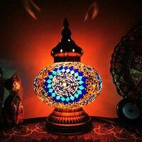 LED schreibtisch lampe retro romantische kleine nacht lampe Marokko hotel schlafzimmer qing Türkische handmade glas kleine schreibtisch lampe
