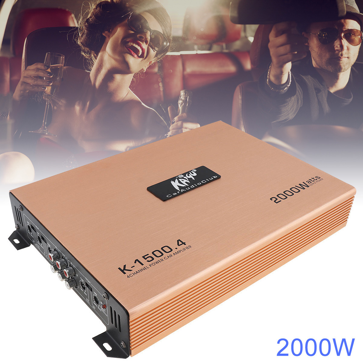 2000W Class AB Digital Car Amplifier 4 Channel Aluminum Alloy High Power Home Car Stereo Amplifier