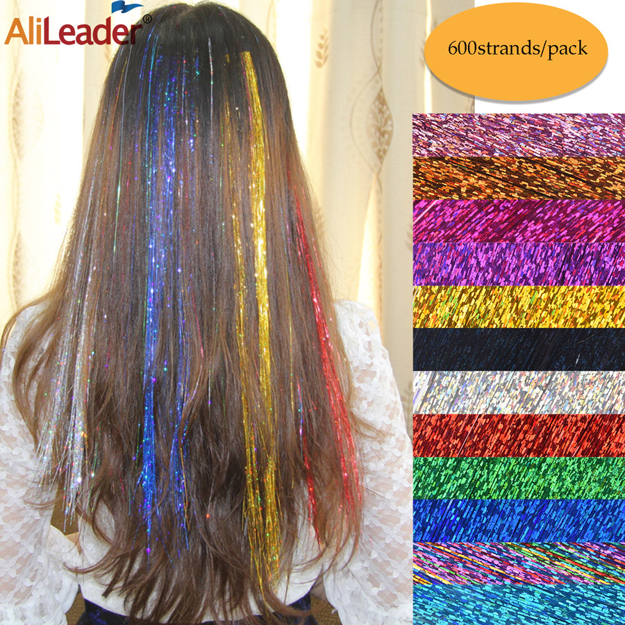 Alileader 600stands/pack Sparkle Hair 12colors Tinsel Hair Party Highlight Rainbow Synthetic Hair 48 Inches Fairy Extension Hair
