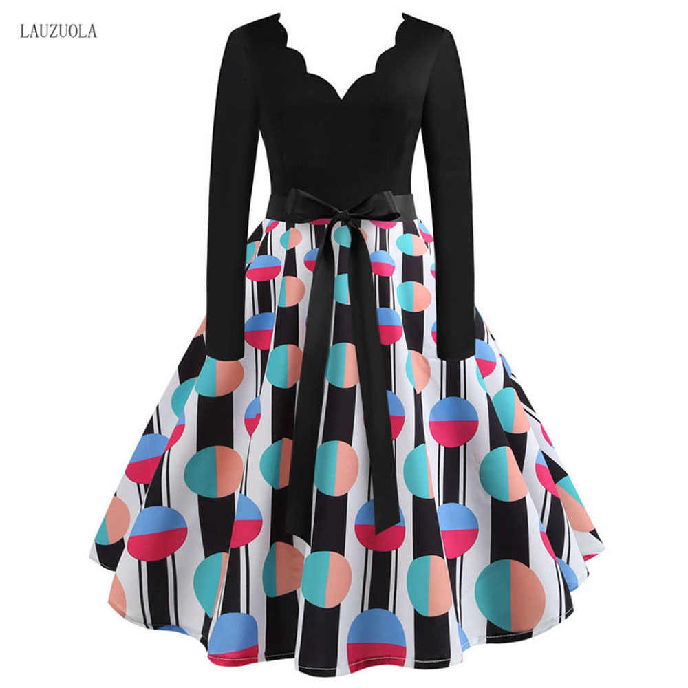 Lauzuola Elegan Vintage Plaid Dress Wanita Lengan Panjang Musim Dingin Gaun Leher V Rockabilly Pin Pesta Musim Semi Vestidos Plus Ukuran