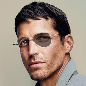 Image 1 - Unisex  Pilot Photochromic Myopia Glasses Women Men Round Rimless Titanium Nearsighted Eyeglasses Driving Sunglasses N5