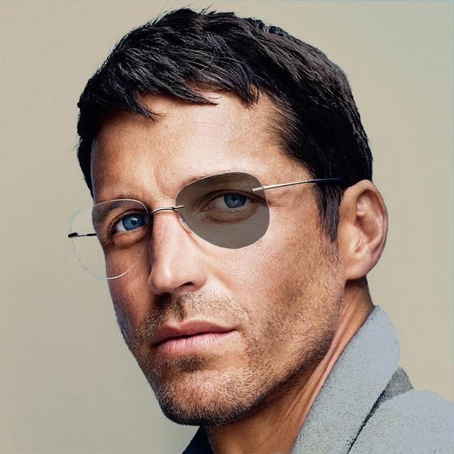 Unisex  Pilot Photochromic Myopia Glasses Women Men Round Rimless Titanium Nearsighted Eyeglasses Driving Sunglasses N5