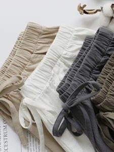 Linen Shorts Streetwear High-Waist Hot Plus-Size Cotton Casual Summer
