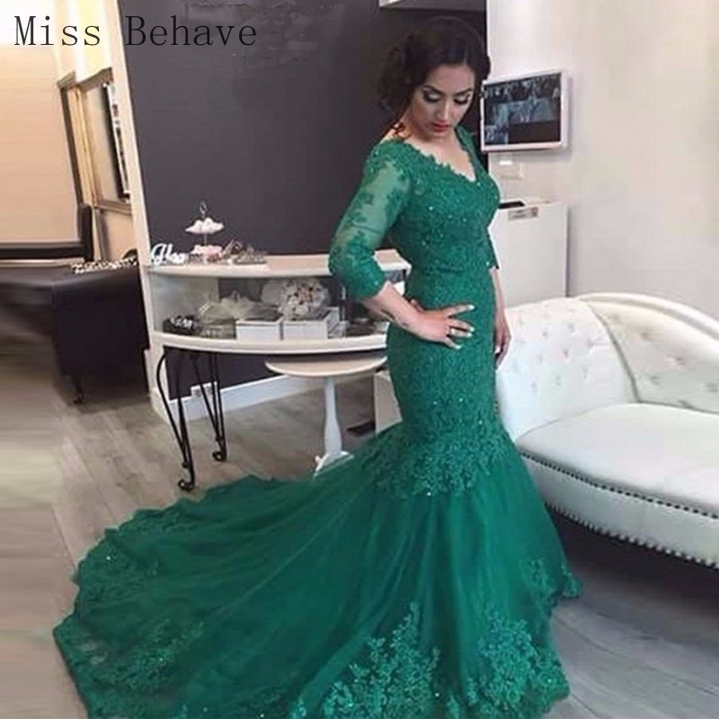 DD JYOY Mermaid Evening Dress Long Lace Formal Dress with Train Elegant Evening Gown Lace Up Back Small Beaded