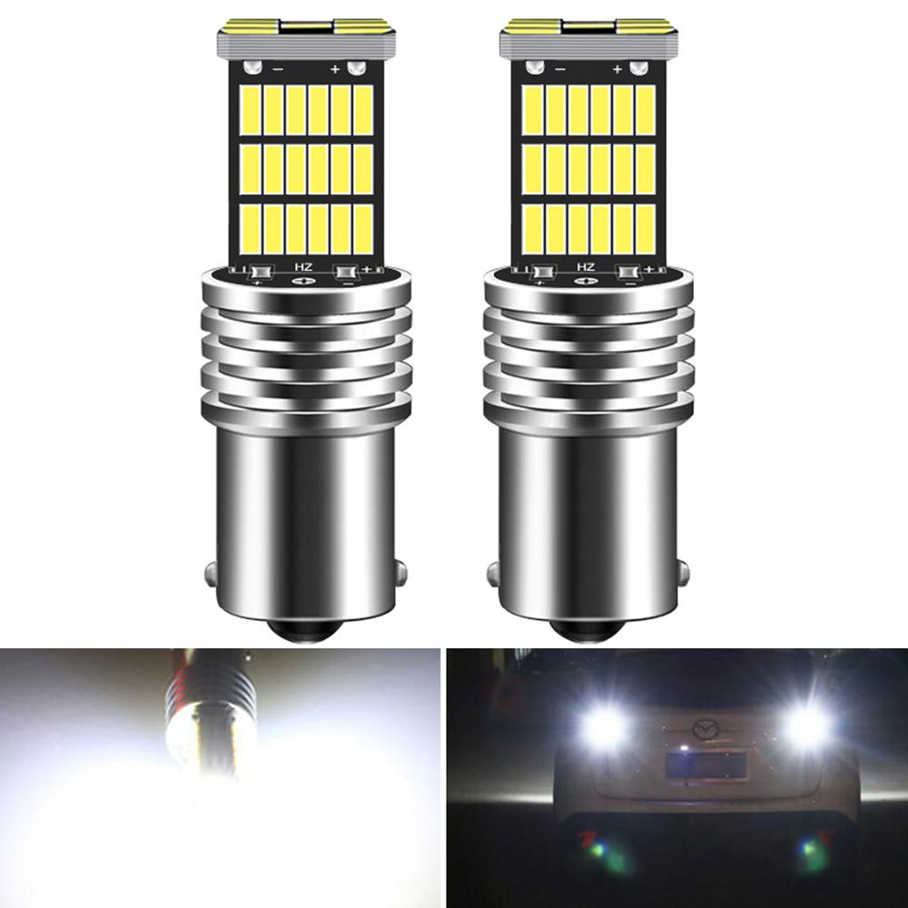 2pcs 1156 <font><b>BA15S</b></font> P21W <font><b>LED</b></font> Bulbs Car Lights Reverse Brake Light Turn Signal <font><b>R5W</b></font> 45LEDs <font><b>12V</b></font> DC Automobiles Lamp DRL for Skoda image