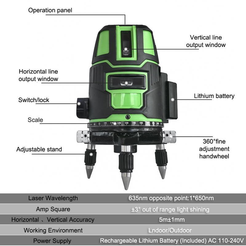 Self Vertical Measuring 360 Laser 3 Cross Horizontal 5 Radius Leveling Lines Rotatable Level Direct Green 2 Alternating