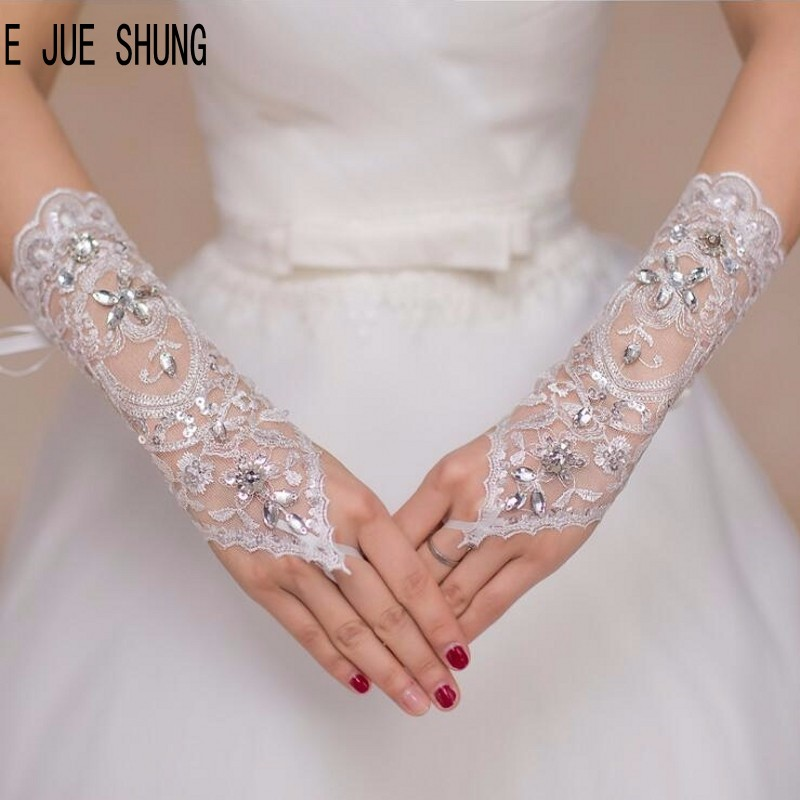 E JUE SHUNG Short Lace Bridal Gloves With Crystal Wedding Party Gloves Fingerless Bridal Accessories