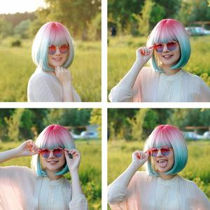 Image 5 - Cosycode ombre 3 tom bob peruca com franja 12 polegada curta reta peruca sintética para as mulheres rosa bege azul 3 cores misturadas cosplay