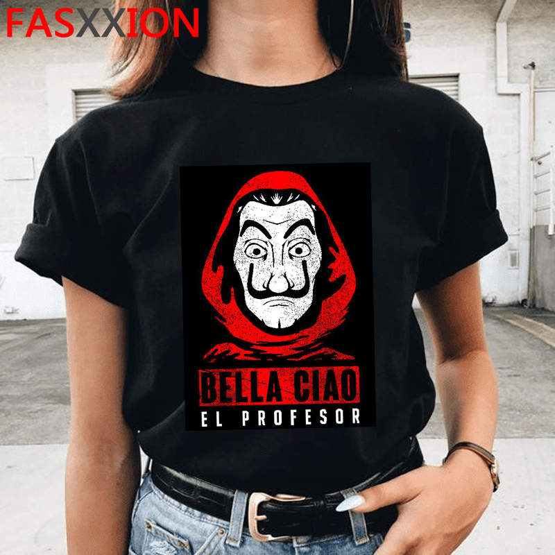 Money Heist The House Of Paper Print Tshirts Men La Casa De Papel Harajuku T-shirt Summer Bella Ciao T Shirt Cool Top Tees Male
