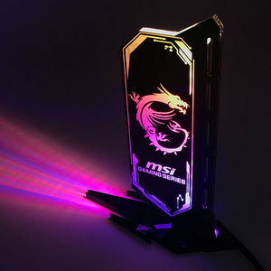 Image 2 - RGB Acrylic GPU Bracket multi Style Illuminated Graphics Card Bracket Chassis Belief Lamp Vertical Jack Support ASUS AURA