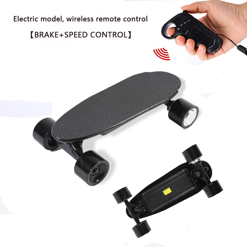 Electric Skateboard Sandpaper Skate Board Wireless Remote Control Max Speed 10km/h Portable Mini Electric Scooter For Adult