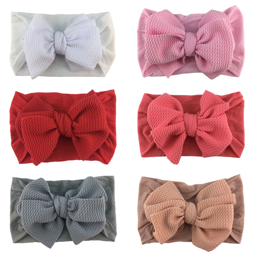 Baby Headband with Double Bow Stretchy Liverpool Fabric
