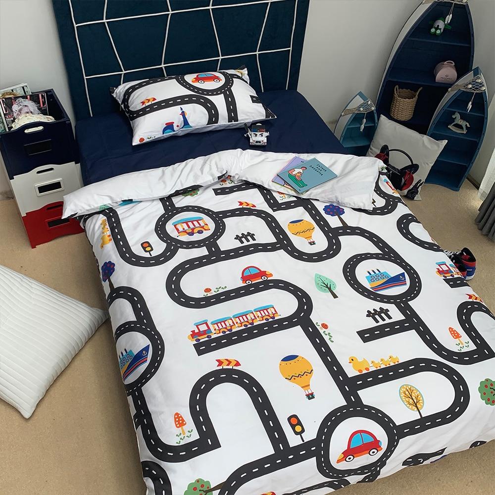 Cartoon Boys Bedding Set Game Car Track Pattern Duvet Cover Bed Linen Set Birthday Gift AU/EU Single Students Bedclothes Kids