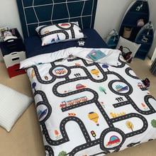 Niños de dibujos animados ropa de cama juego de pista de coches patrón Duvet Cover Set de los niños regalo de cumpleaños/AU/único de la UE los estudiantes ropa de cama para niños