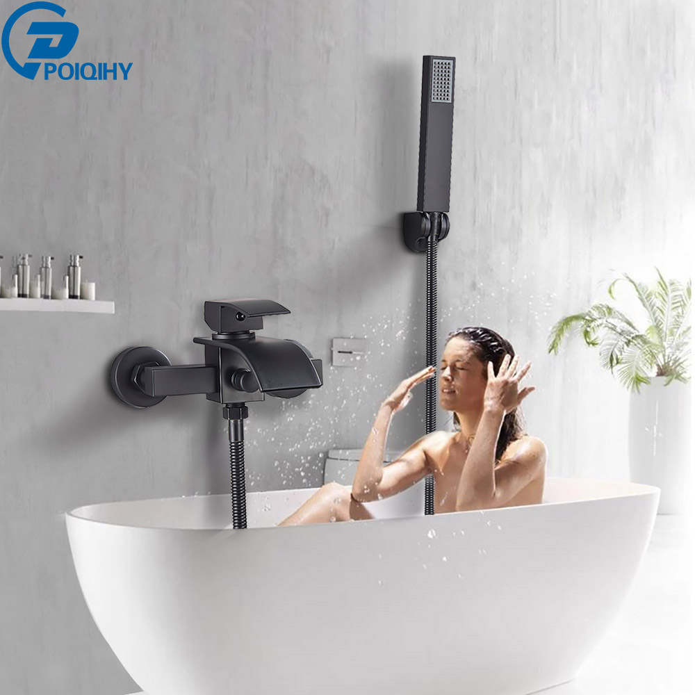 POIQIHY Waterfall Black Bathtub Faucet Wall Mount Waterfall Hot Cold Water Mixer Tap Bath Shower Faucet Tap Robinet Baignoire