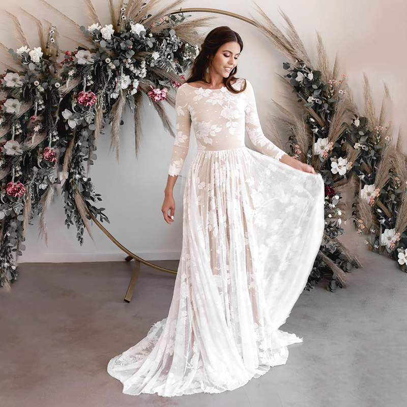 2020 Vintage Wedding Dresses Sexy Backless Long Sleeves Lace Boho Beach Bridal Dress Champagne Bohemian Wedding Gowns