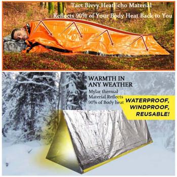 Awaryjny śpiwór termiczny wodoodporny do przetrwania na zewnątrz Camping piesze wycieczki lekki trwały wyposażeniem ochronnym utrzymuj ciepło tanie i dobre opinie [15℃ ~ 5℃] Spleciony pojedynczy śpiwór Dla osób dorosłych Wydłużony (1 8 m-2 m wysokości) CN (pochodzenie) Wiosna i jesień