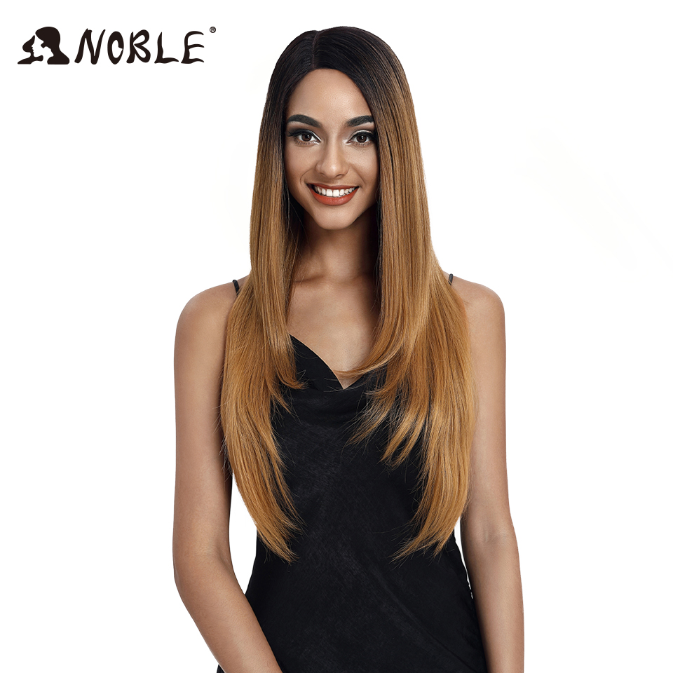 Noble Synthetic Lace Wigs For Black Women 28Inch Straight Hair Ombre Lace Wig Cosplay Wigs Synthetic  Lace Front Wig