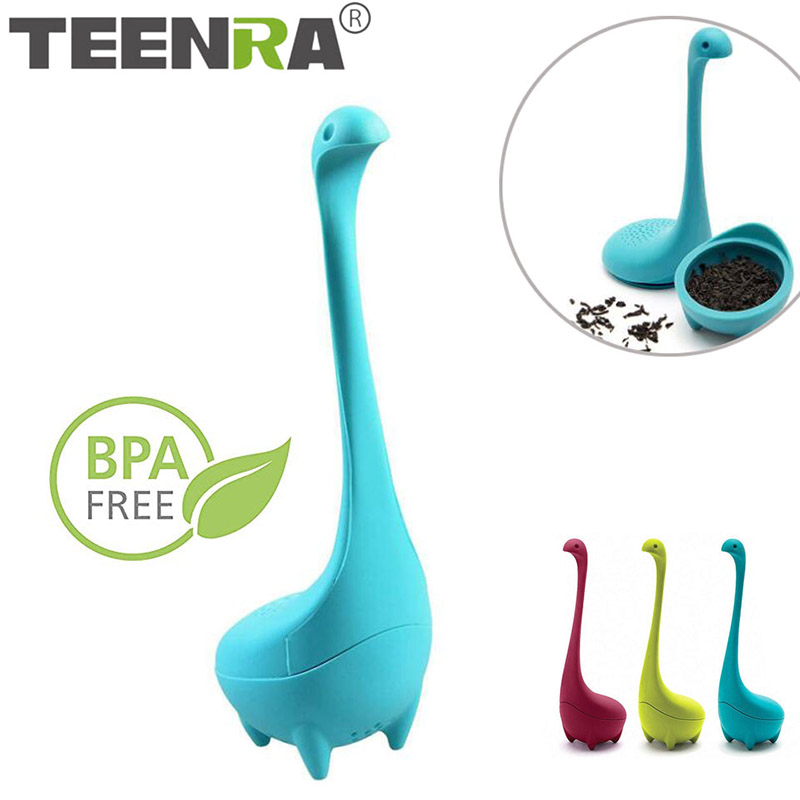 TEENRA Loch Ness Monster Tea Infuser Strainer Silicone Tea Filter Reusable Tea Maker Leaf Diffuser Accessories Teaware