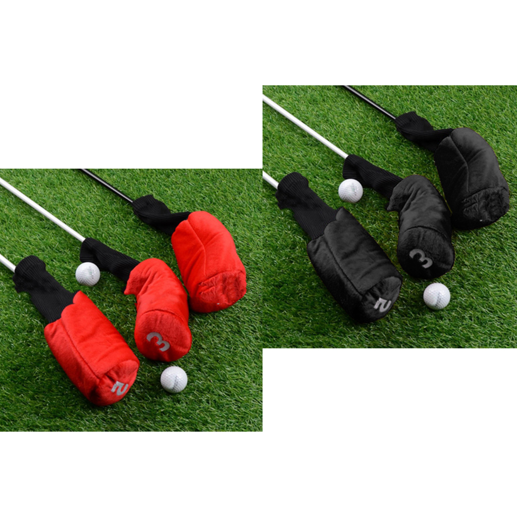 6pcs Long Neck Golf Club Head Cover Wood Headcover Accessories With Number Tags 1 3 5 Clubs Cover Protector Woods Headcover