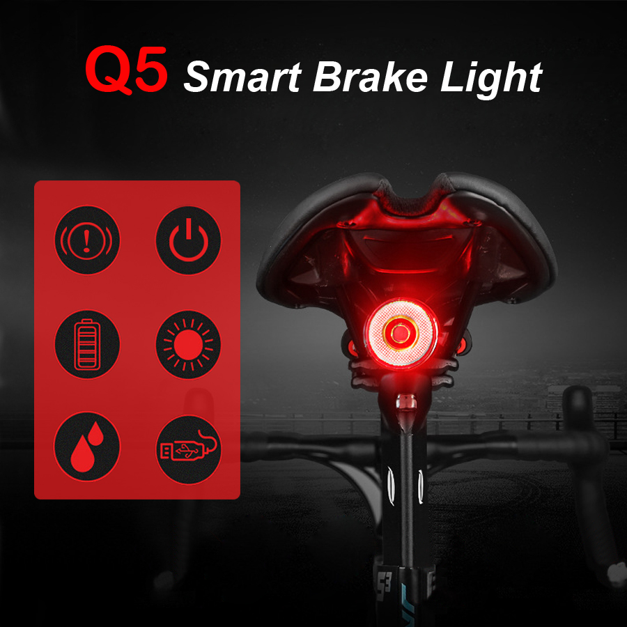 Q5 Smart Bicycle Rear Light Auto Brake Sensing USB Chargeable Waterproof LED Flashlight Cycling Taillight Bike Light Accessories