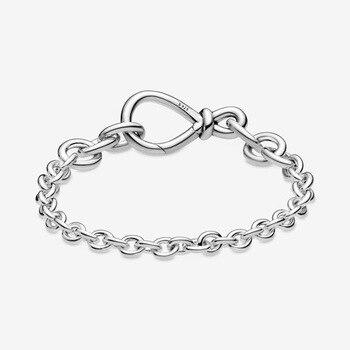 Brazalete de plata esterlina 925 Original, pulsera de cadena de nudos infinita gruesa, brazalete compatible con Pandora, abalorio de cuentas para mujer, joyería de moda Diy