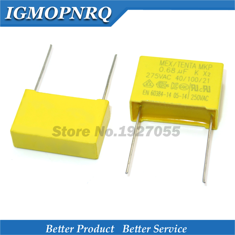10pcs High Quality 10pcs 275VAC 0.68uF  Capacitor 275VAC 680NF Pitch 22mm X2 Polypropylene Film Capacitor 0.68uF New
