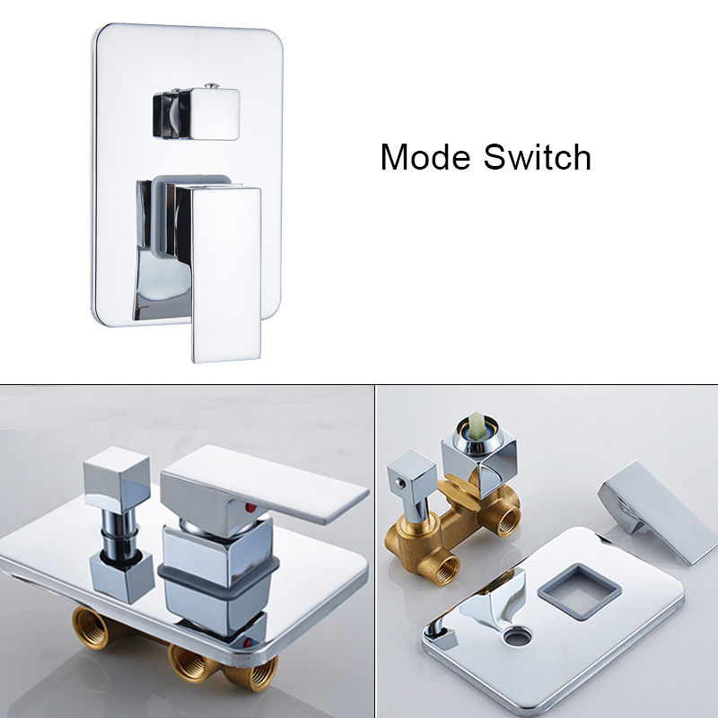 Suguword Chrome Concealed Bathroom Shower Faucet Set 8''10''12''16'' Rainfall Shower Head Wall Mounted Hot and Cold Mixer Tap