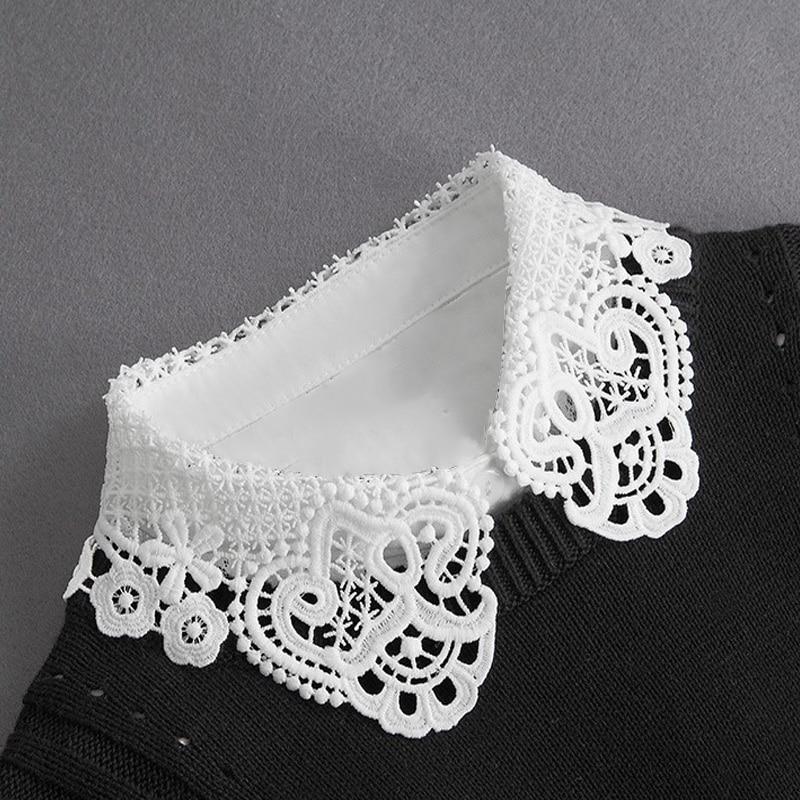 Women Fake Collar Half Shirt Ladies Shirt Fake False Collar For Women Black Woman Detachable Collar Lace Lapel Faux Col Tie