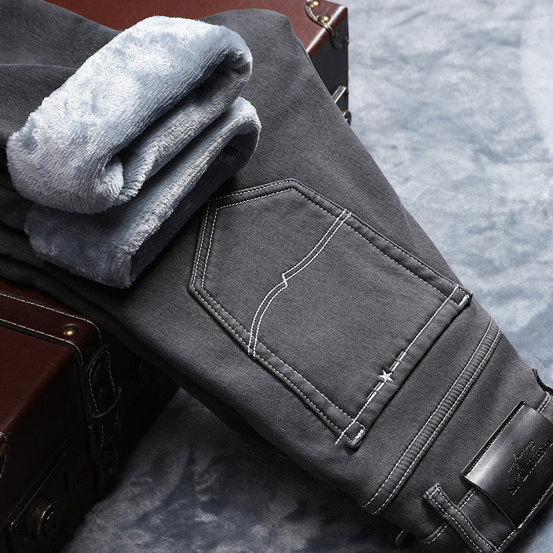 2019 Men Fashion Winter Jeans Men Gray Slim Fit Stretch Thick Velvet Pants Warm Jeans Casual Fleece Trousers Male Plus Size,203