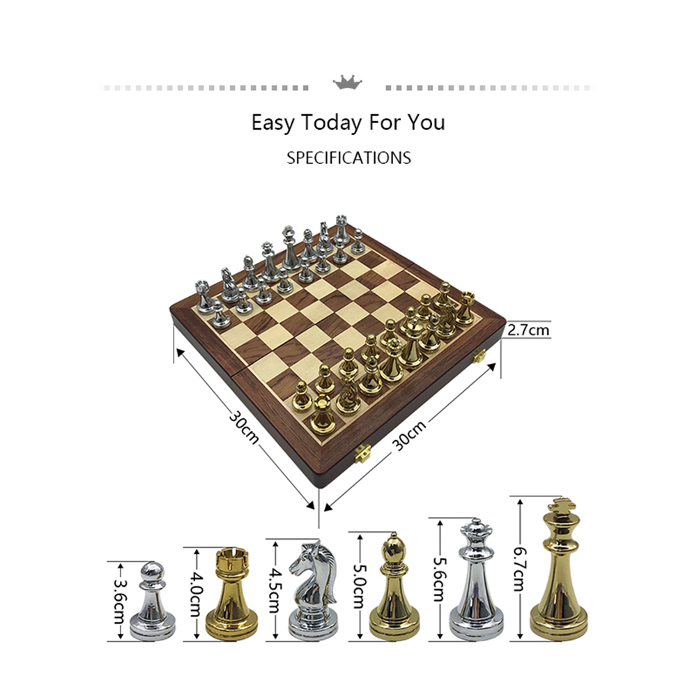 Chess Games Set Metal Glossy Golden And Silver Chess Pieces Solid Wooden Folding Chess Board High Grade Professional Gift 1