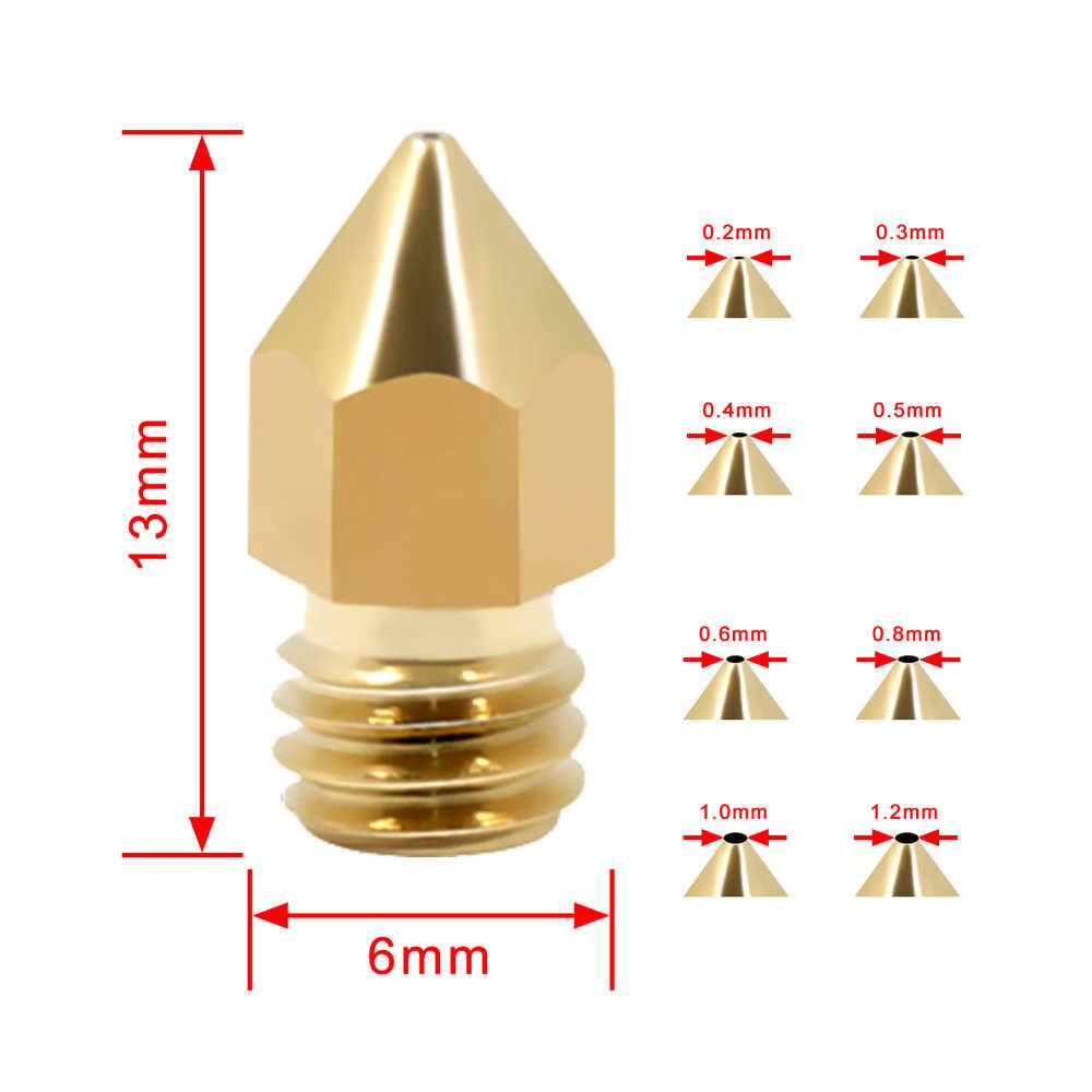 10 ピース/ロット 3dプリンタノズル 0.2/0.3/0.4/0.5/0.6 ミリメートル/0.8/1.2 ミリメートルオプション押出機プリントヘッド 3Dノズル 3Dプリンタ用 1.75 ミリメートル