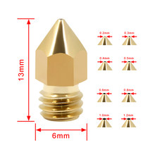 10pcs/lot Brass Nozzle 0.2/0.3/0.4/0.5/0.8/1.00/1.2MM option Extruder Print Head Nozzle 3D Printer part For 1.75MM(China)