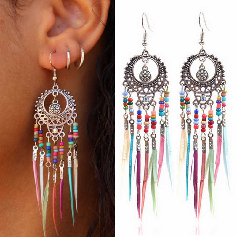 Bohemian Rainbow Colors Feather Tassel Earrings 2019 Ethnic Vintage Hollow Out Beads Dangle Earrings For Women Indian Jewelry