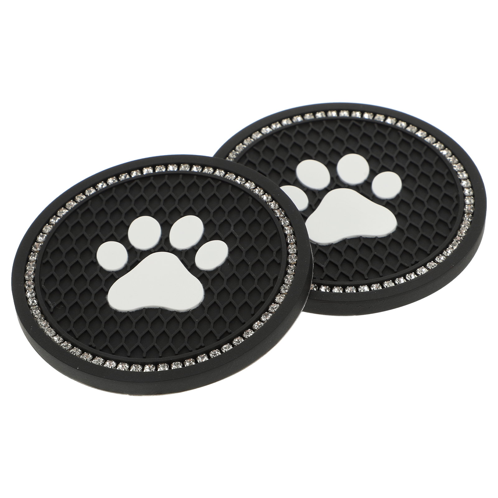 2 pcs Car Coaster Water Cup Bottle Holder Anti-slip Bling Paw Pad Mat Silica Gel For Interior Decoration Car Styling Accessories