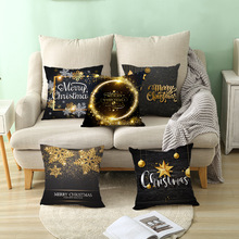 Merry Christmas snow moose and cedar square decorative pillowcase Christmas home sofa cushion set lette black pillow case
